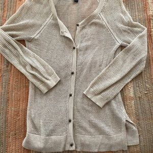 Netted cream cardigan blouse